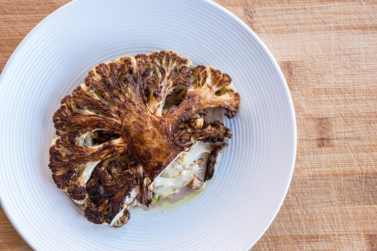 Pan-roasted cauliflower with cashew cream