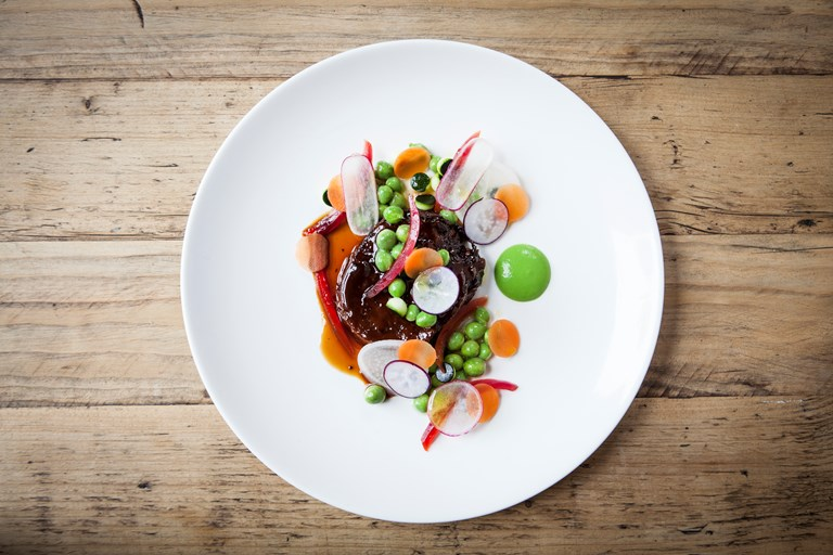 Smoked ox tongue, peas, pickled vegetables