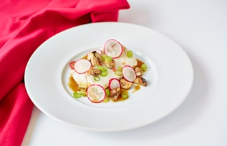 Poached hake with honey and soy vinaigrette and quick-pickled mushrooms