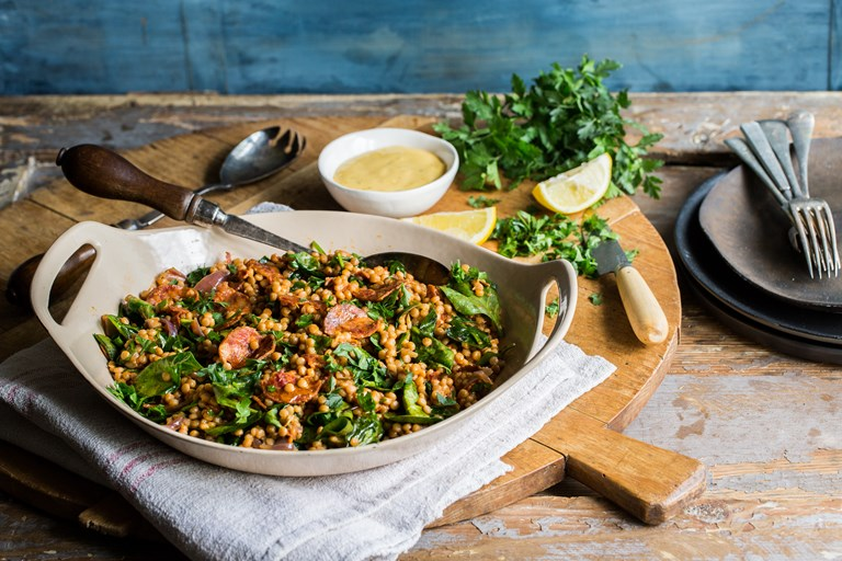 Spicy giant couscous with chorizo and spinach