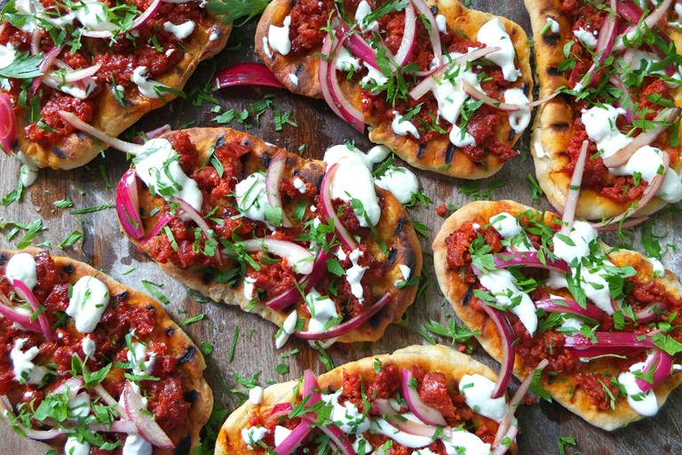 Chorizo flatbreads with pink pickled onions and feta yoghurt