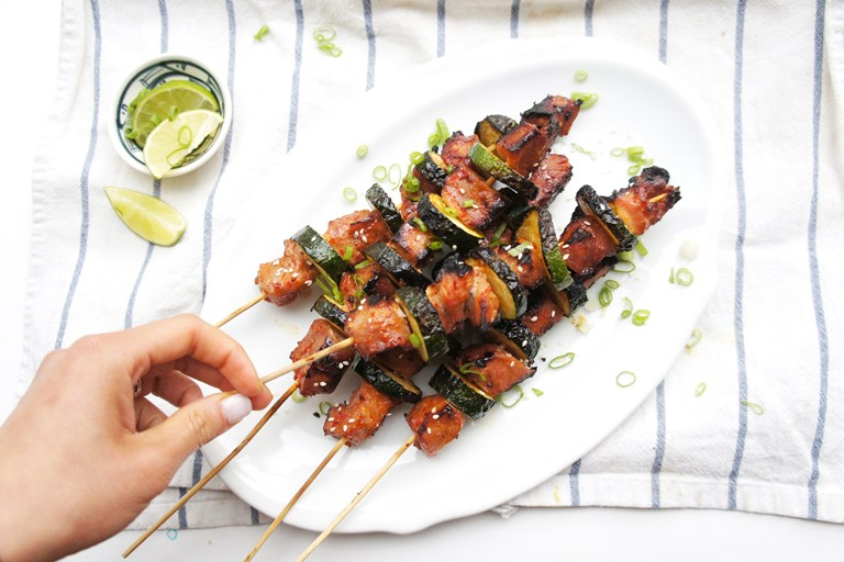 Chilli garlic pork and courgette skewers