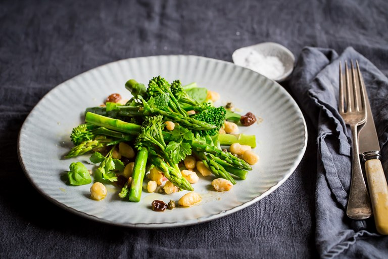 Cannellini bean herb salad with caper and sultana dressing