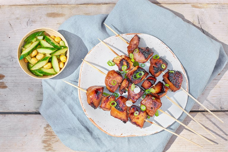 Barbecued hoisin chicken skewers