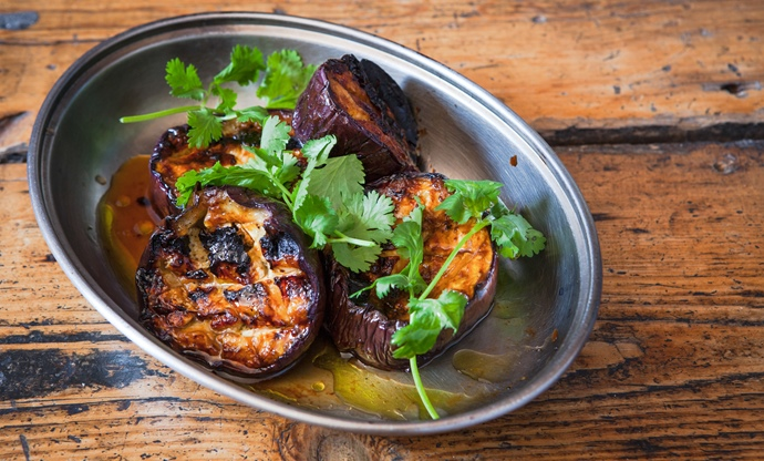 Tamarind, teriyaki and chilli oil barbecued aubergine