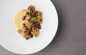 Chickpea Flour Tagliatelle with Hare Ragout, Apple Sauce and Saffron