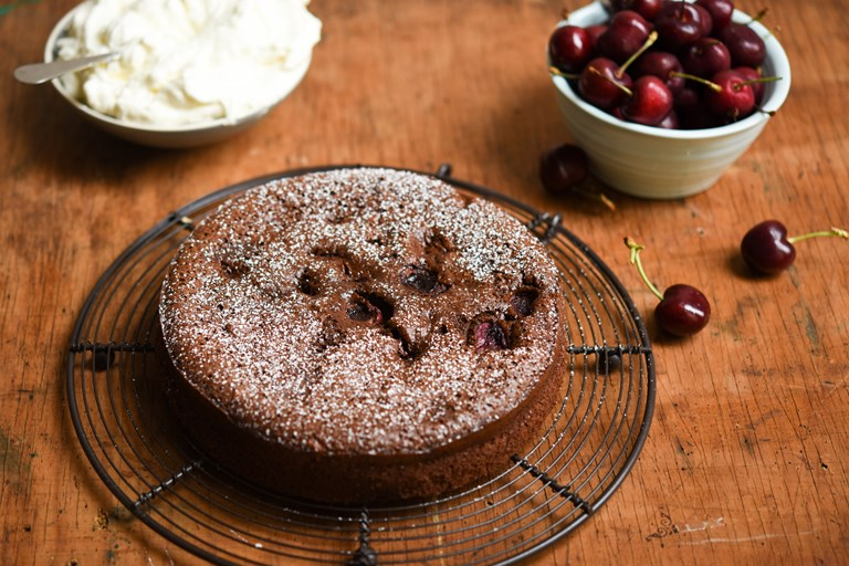 Cherry chocolate torte with cherry Chantilly