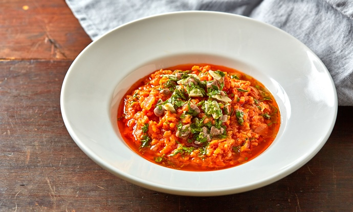 Tomato and anchovy risotto