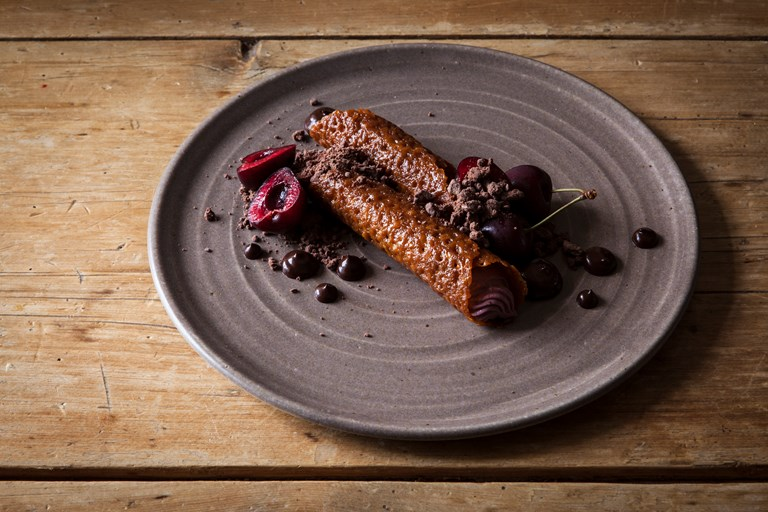 Kirsch brandy snaps with cherry mascarpone and chocolate