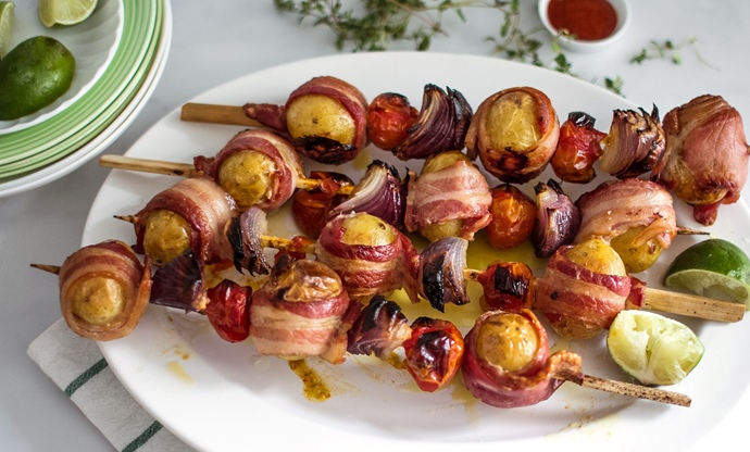 Perline potato and bacon skewers