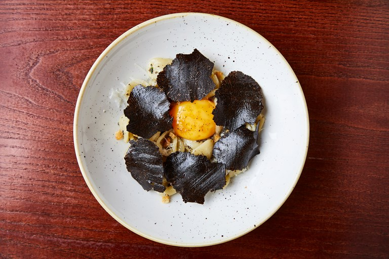 Orecchiette, egg yolk and black truffle