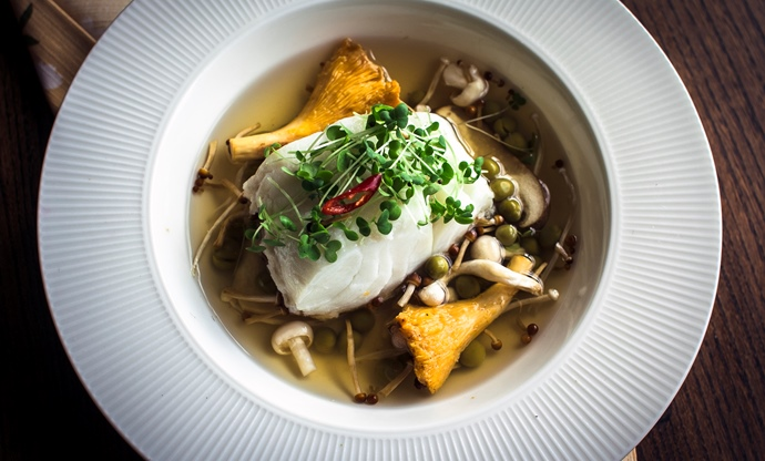 Steamed cod in a light Japanese broth