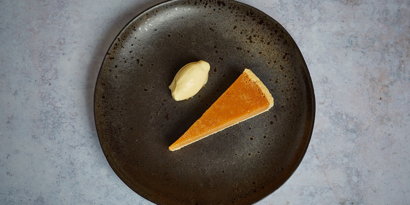 Salted Caramel Tart with Banana and Passion Fruit Sorbet - Great British Chefs
