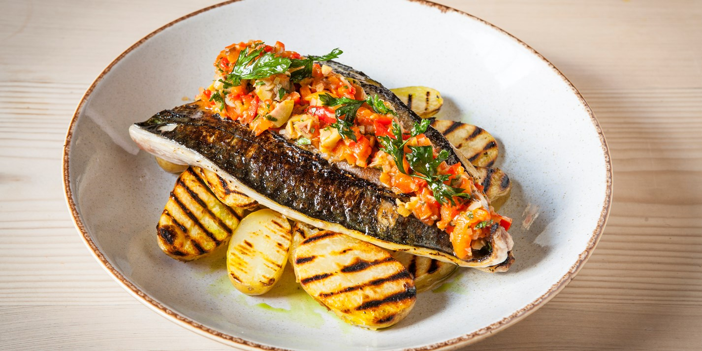 Grilled Mackerel Recipe with Chargrilled Potatoes - Great British Chefs