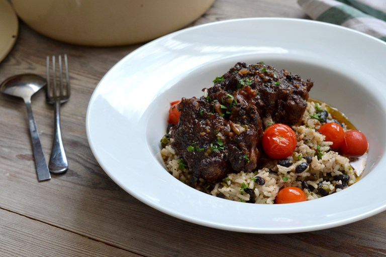 Jerk-style oxtail stew
