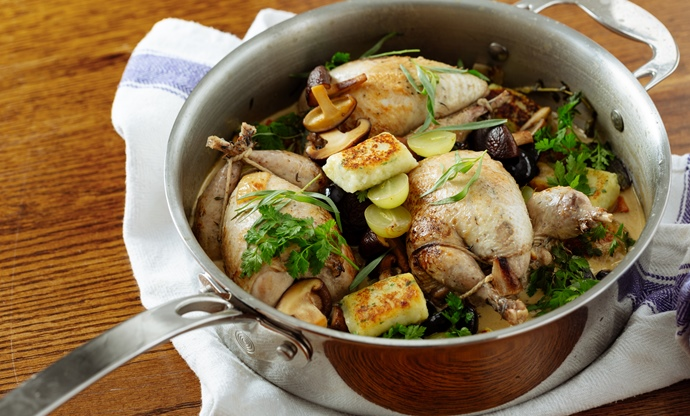 Pot-roasted partridge with grapes, gnocchi and mushrooms