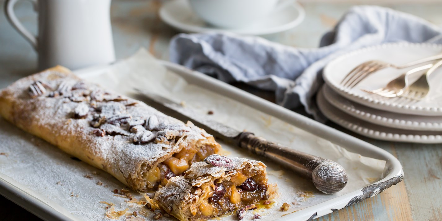 Apple, Cranberry and Pecan Strudel Recipe - Great British Chefs