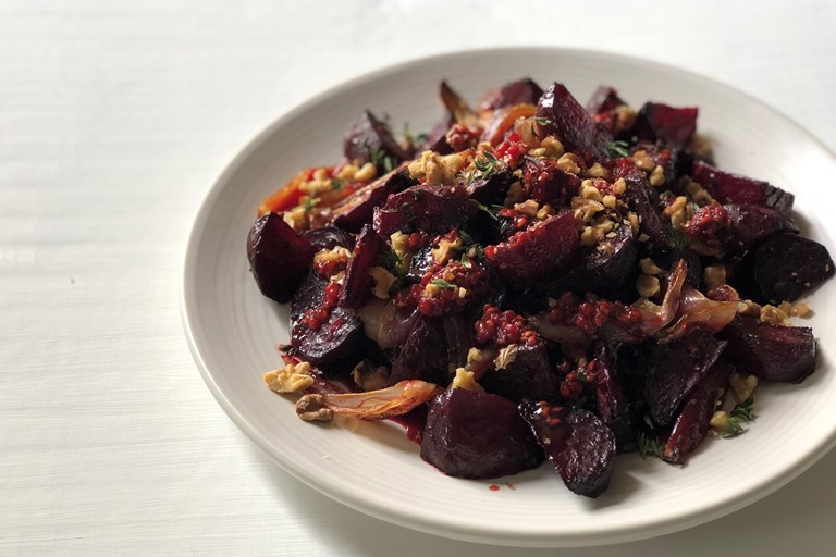 Beetroot, shallot and thyme, with raspberry dressing and toasted walnuts