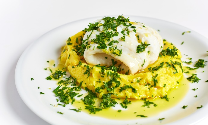 Steamed haddock with saffron mash and gremolada