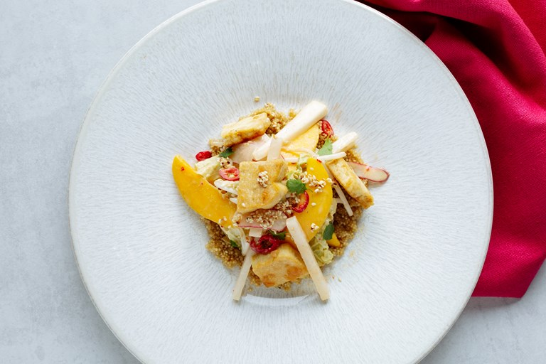 Marinate tofu, quinoa, peanut, chilli and mango salad