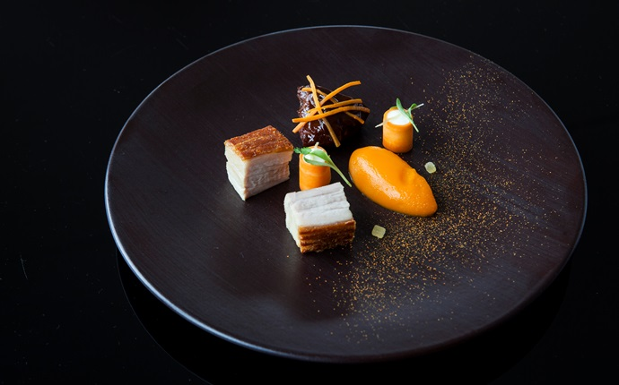 Braised pork belly and cheeks, pickled carrot, ginger and coriander
