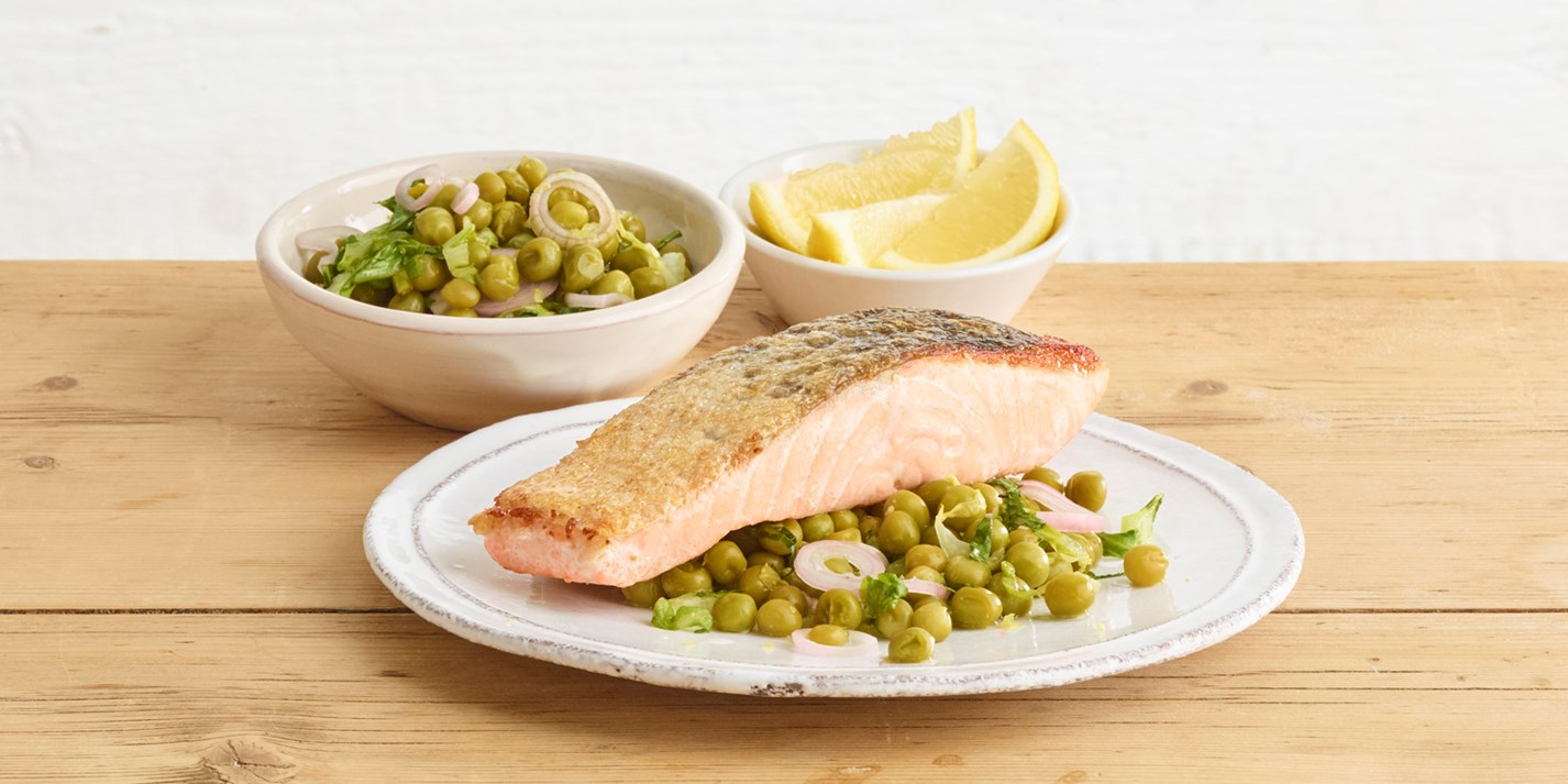 Pan-Fried Salmon with Quick-Pickled Pea and Shallot Salad - Great British Chefs