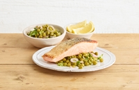 Pan-fried salmon with quick-pickled pea and shallot salad