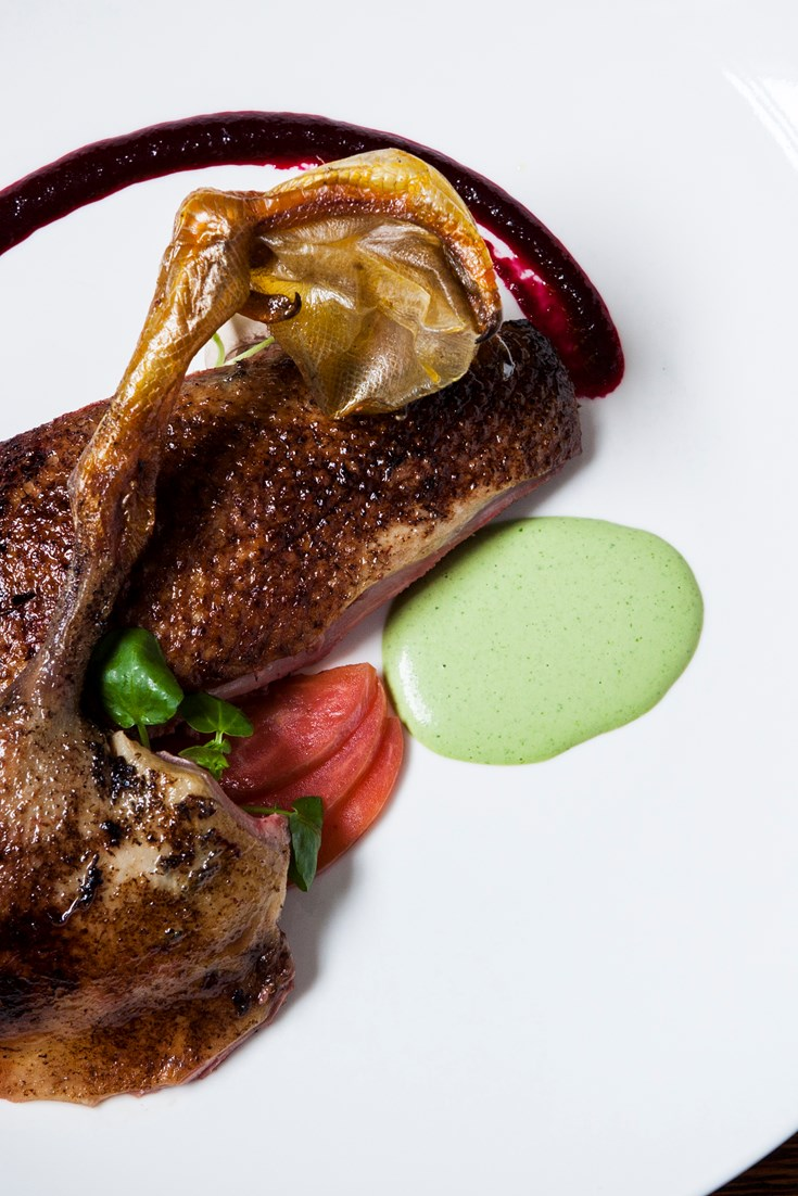 Roasted Mallard, Salted Plums and Watercress Purée Recipe - Great British Chefs
