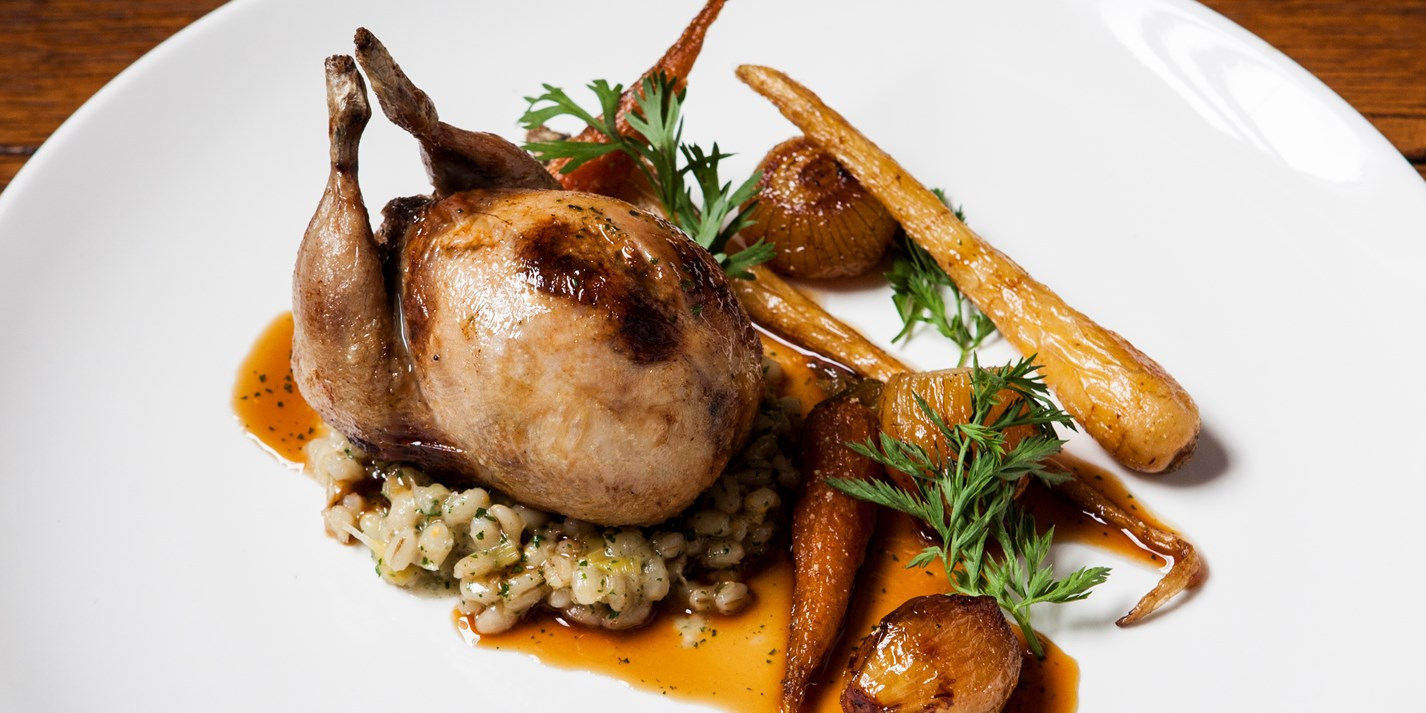 Stuffed Quail with Pearl Barley Recipe - Great British Chefs