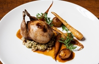 Richard's perfect roast dinner - stuffed Norfolk quail with Norfolk pearl barley