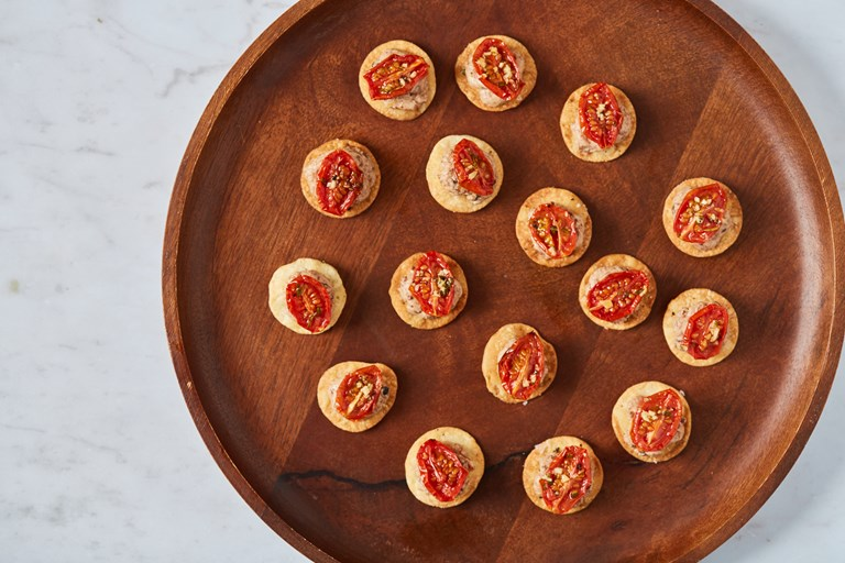 Tomato, olive and thyme canapé