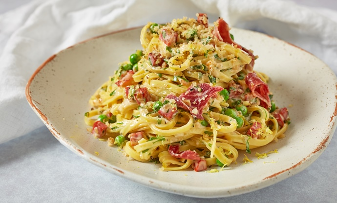 Chorizo, Iberian ham and tarragon linguini