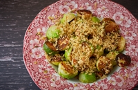 Fried Brussel sprouts with lemon, sage and parmesan crumb