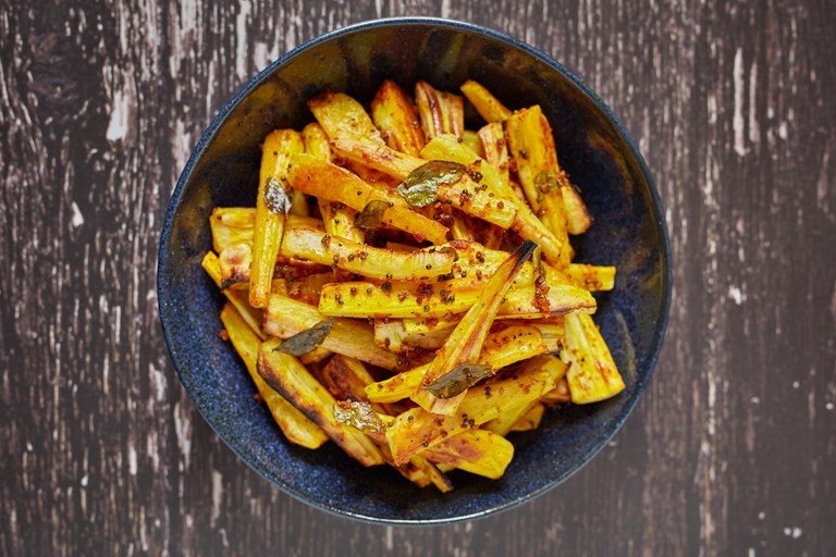 Turmeric and curry leaf parsnips