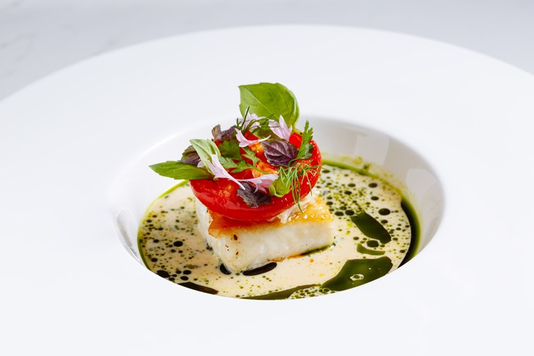 Hake, tomato and crab