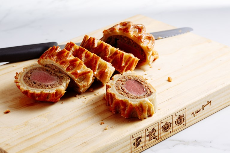 Lamb and haggis wellington