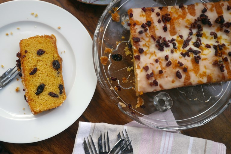 Gluten free clementine and cranberry drizzle cake