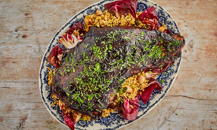 Balsamic glazed hogget shoulder with freekeh and grilled radicchio
