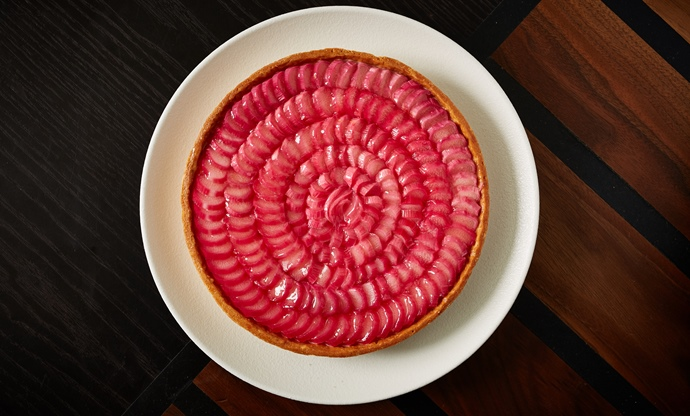 Rhubarb and ginger custard tart