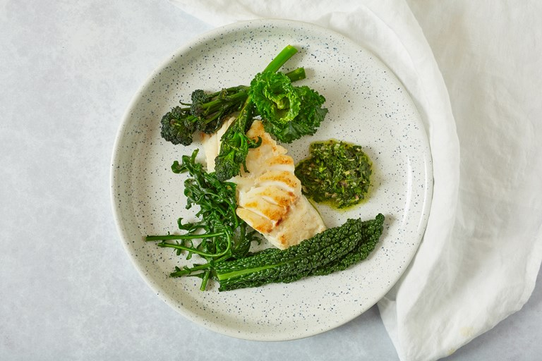 Skrei with brassicas and tarragon salsa verde
