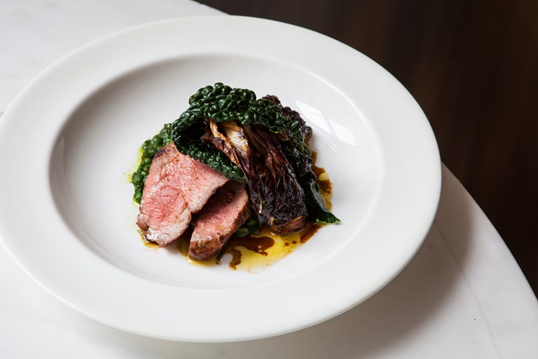 Grilled lamb with cavolo nero and farro