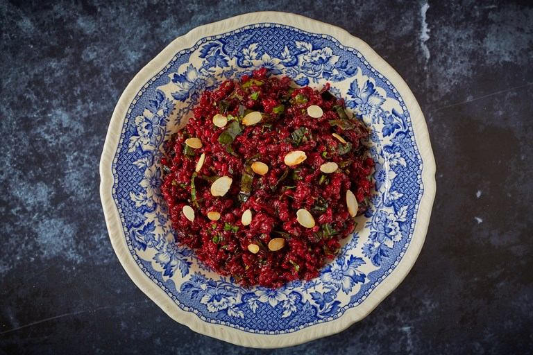 Beetroot and beet tops barley pilaf