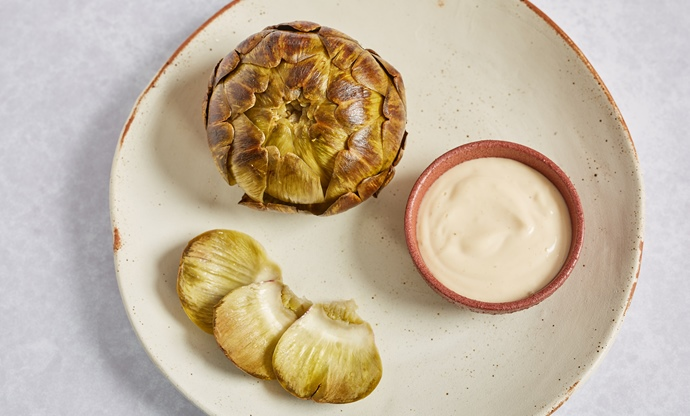 Whole barbecued artichokes with smoked garlic mayonnaise