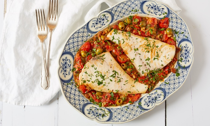 Pesce spada alla Ghiotta – Calabrian swordfish with tomatoes, olives and capers