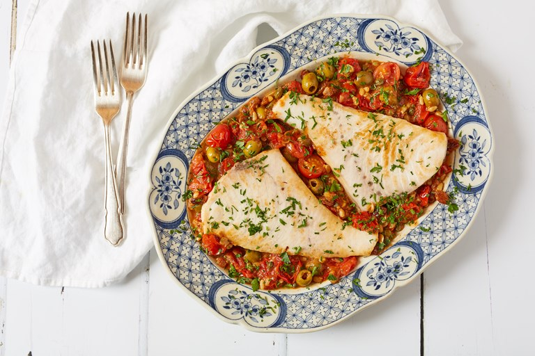 Pesce spada alla ghiotta – swordfish with tomatoes, olives and capers