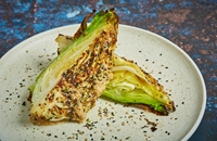 Barbcued hispi cabbage with miso butter and goma dressing