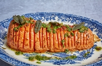 Barbecued hassleback butternut with sage salsa verde