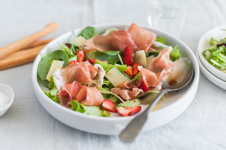 Mesclun salad with Prosciutto di Parma, strawberries, balsamic and Parmigiano Reggiano