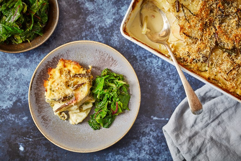 Cheesy chard stem gratin served with mustard-dressed chard greens