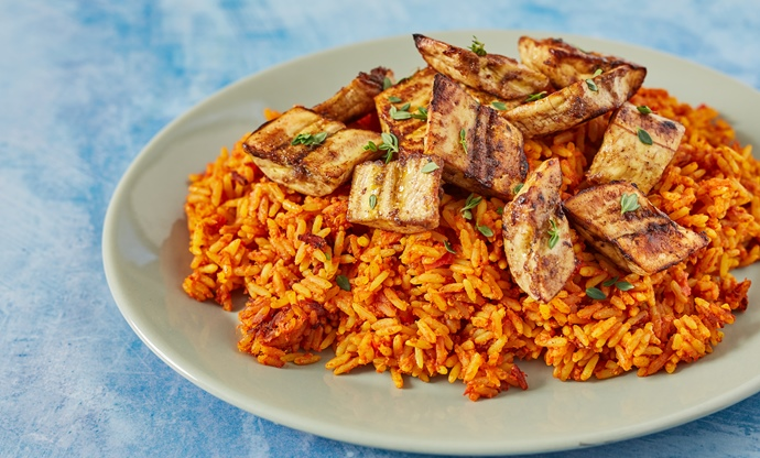 Jollof rice with kelewele